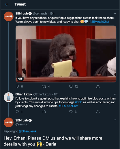 Screenshot showing a good example of brand communication on Twitter.